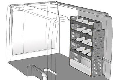 Aménagement NV400 Nissan utilitaire L1 kit métallique Droit