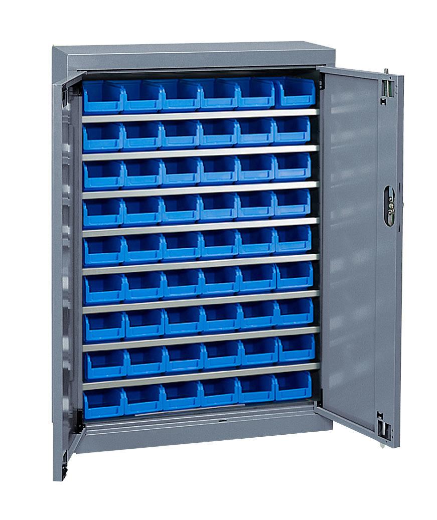 Armoire à bacs basse avec portes + 54 bacs plastique 1 litre
