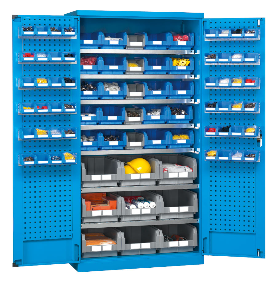Armoire avec panneaux perforés bleue