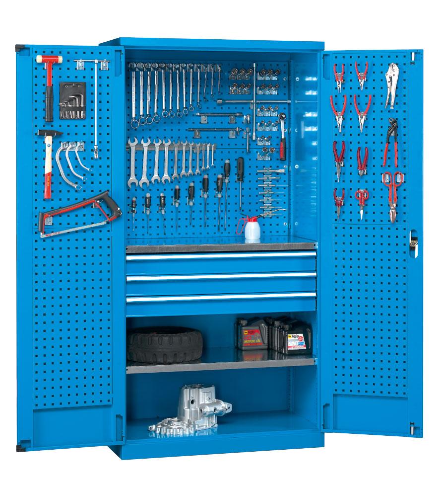 Armoire d'atelier avec panneaux perforés et tiroirs bleu