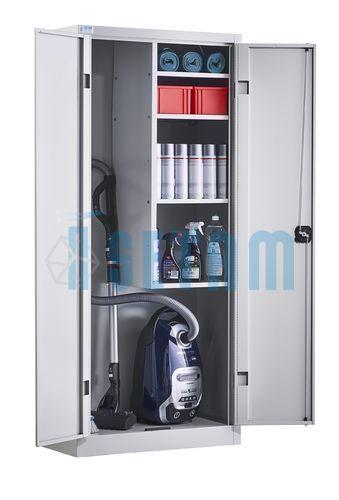 Armoire d 39 entretien double placard balais portes battantes - Placard a balai ...