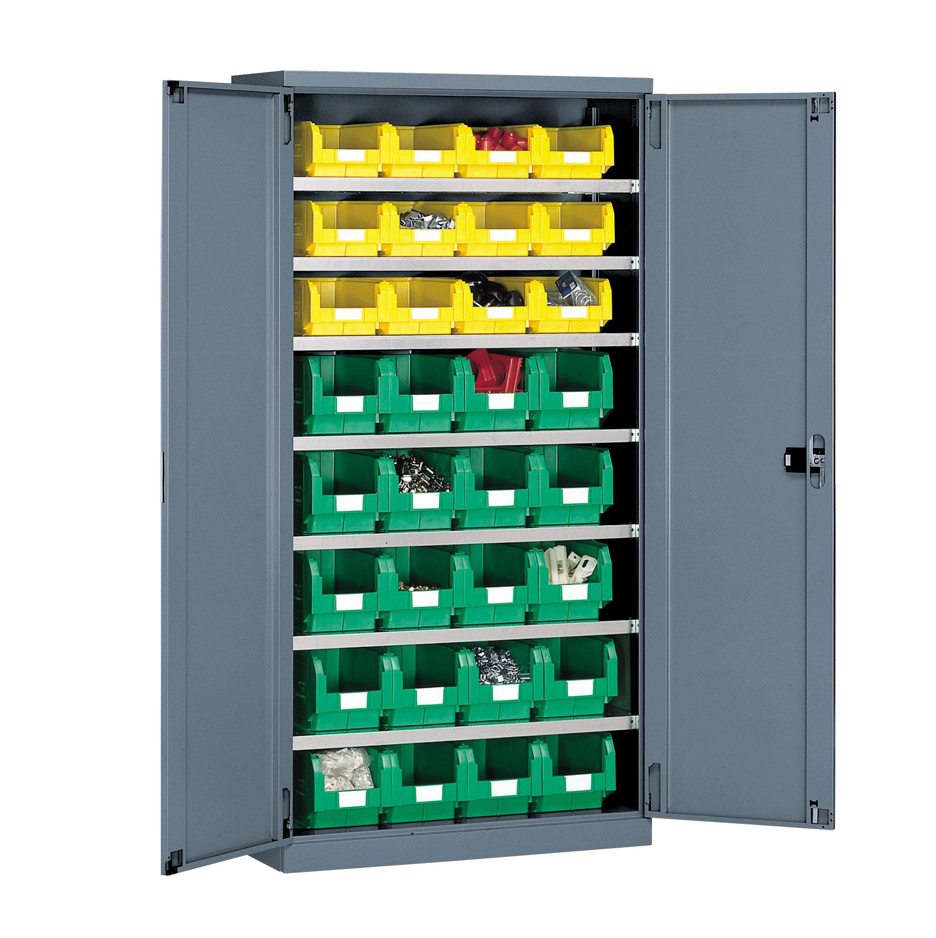 Armoire grande capacité avec 32 bacs plastiques