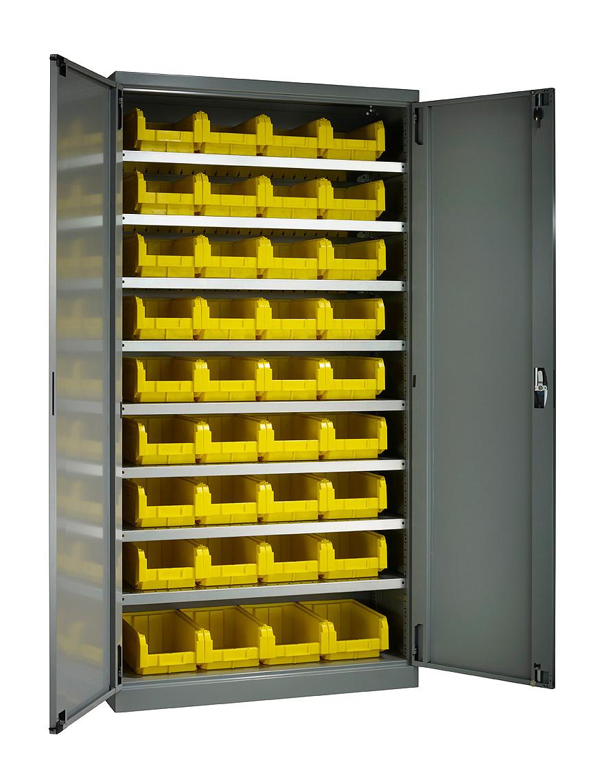 Armoire haute avec portes et 36 bacs plastique 9.4 litres