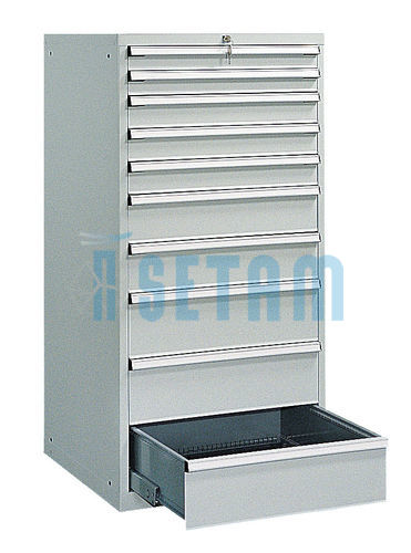 armoire d 39 atelier 10 tiroirs structure m tallique coloris gris. Black Bedroom Furniture Sets. Home Design Ideas