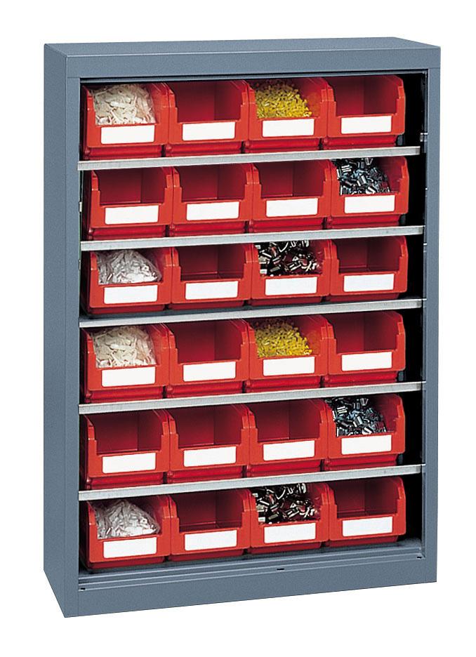 Armoire porte-bacs basse avec 24 bacs plastiques 3.8 litres