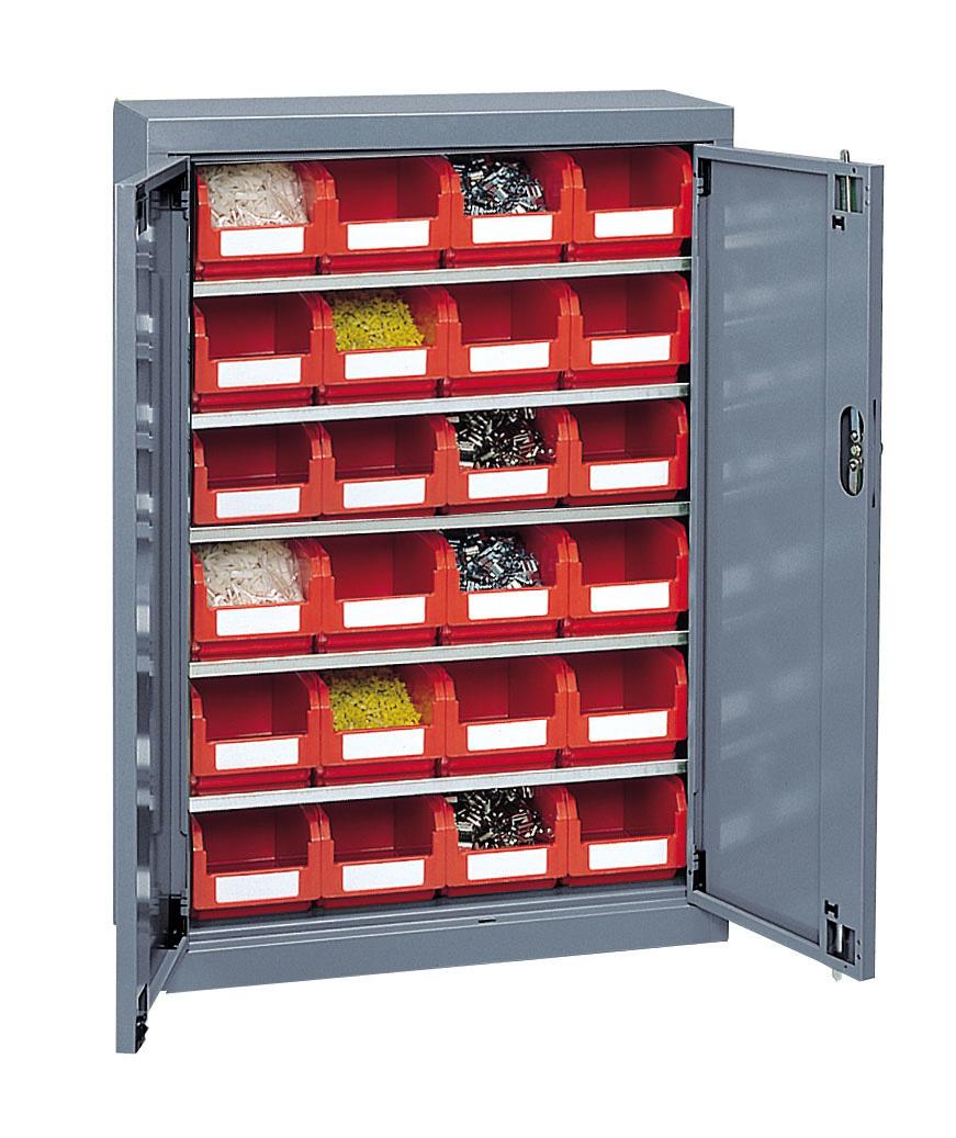 Armoire porte-bacs basse avec portes + 24 bacs plastique 3.8 litres