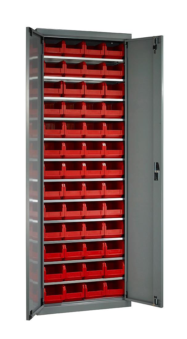 Armoire porte-bacs haute avec portes avec 52 bacs plastique 3.8 litres