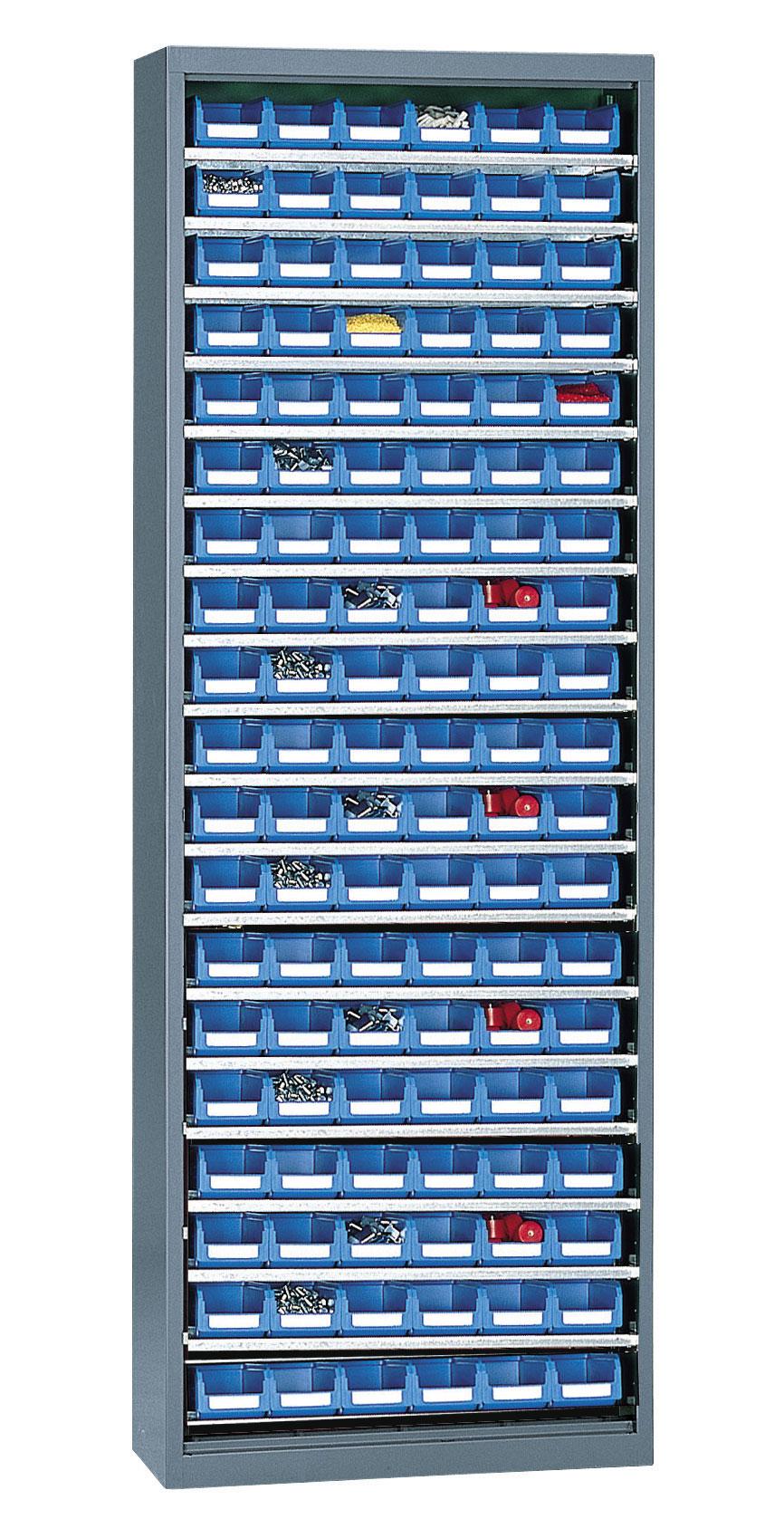 Armoire porte-bacs haute sans porte + 114 bacs plastique 1 litre