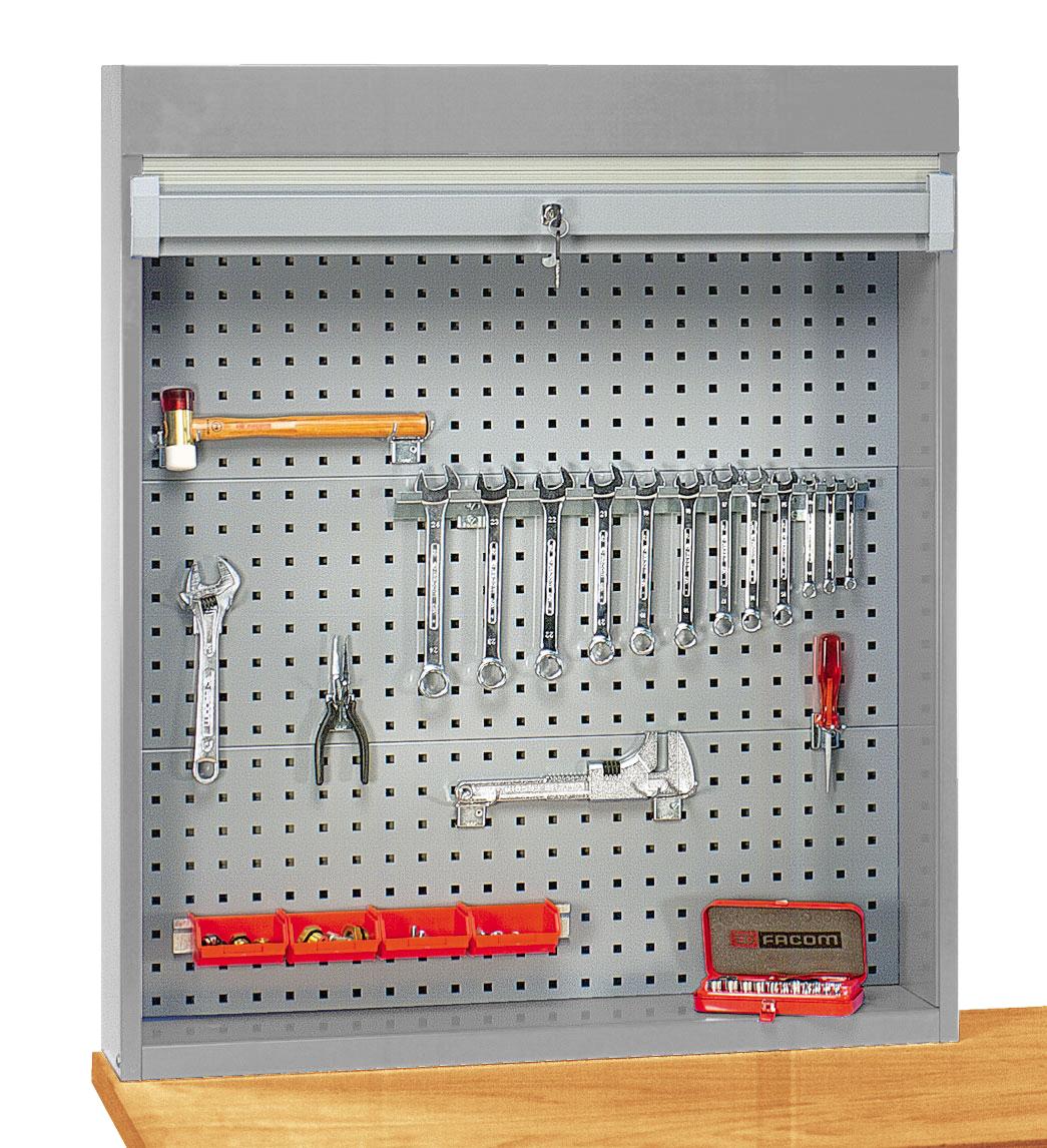Armoire porte outils à fond perforé pour établi