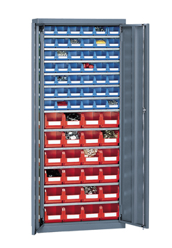 Armoire portes battantes avec 66 bacs à bec plastique