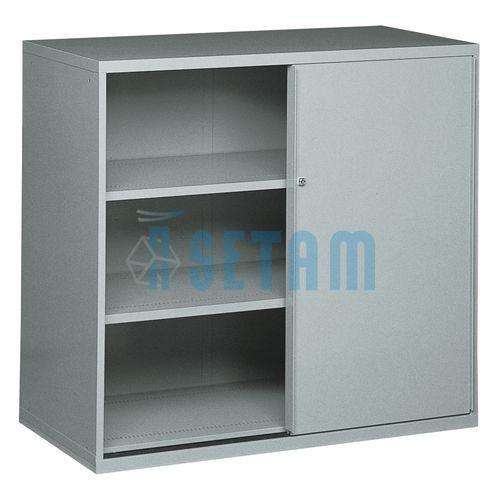 Armoire rangement grand volume portes coulissantes gris - Meuble de rangement avec porte ...