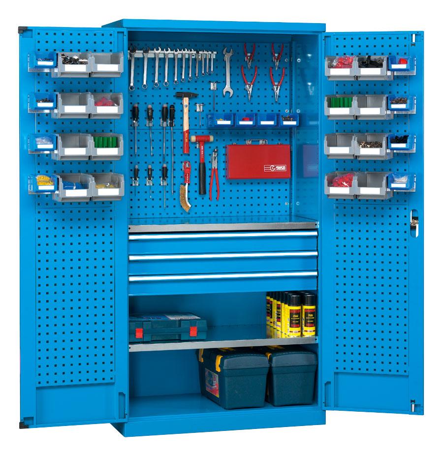 Armoire rangement outils fond perforé coloris bleu