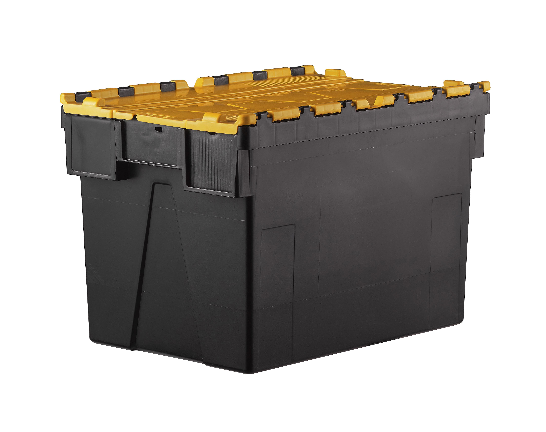 Bac navette gerbable 52 litres couvercle intégré Jaune