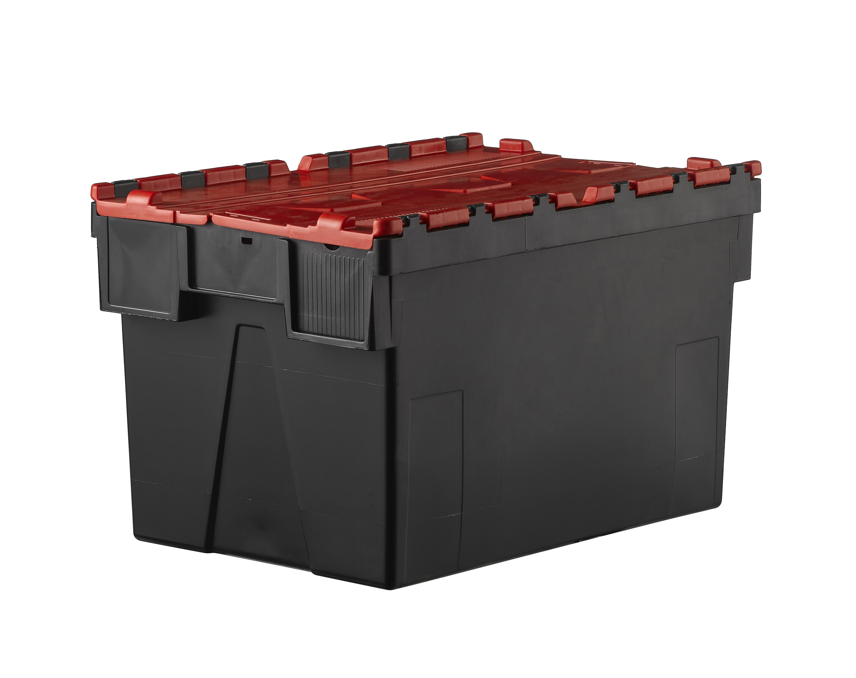 Bac navette gerbable 52 litres couvercle intégré Rouge