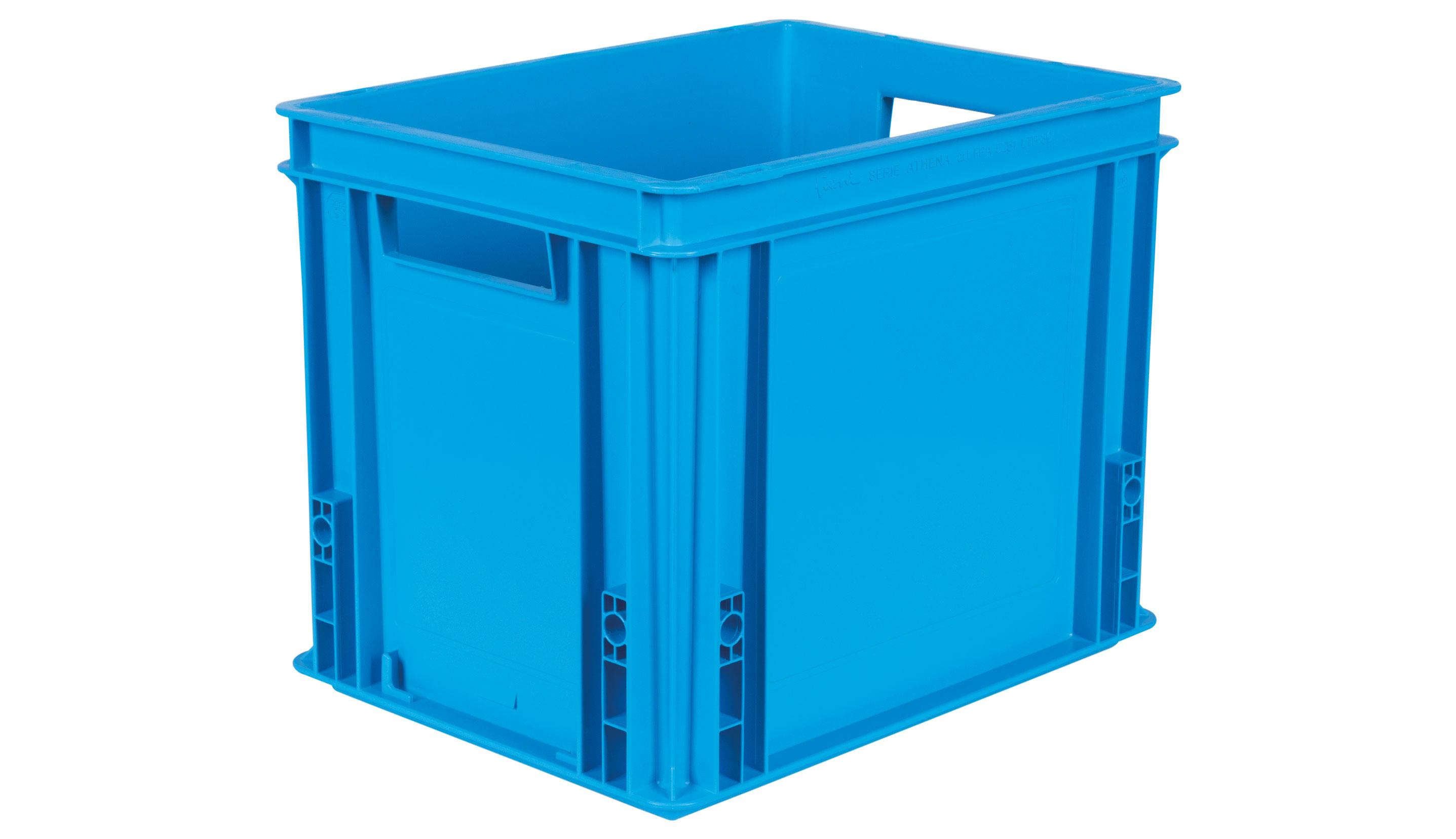 Bac plastique gerbable Bleu 30 litres avec poignées