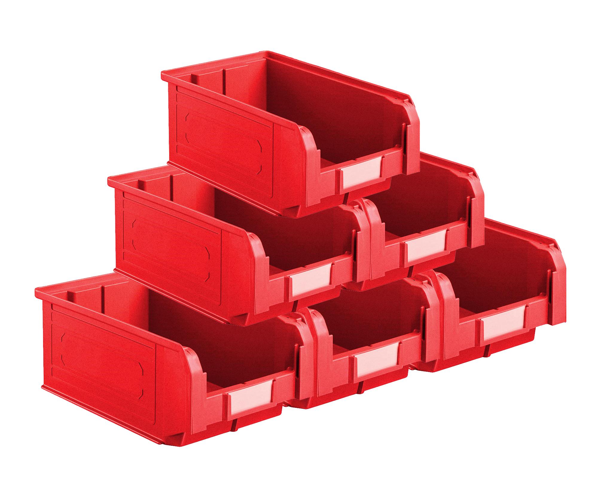 Bacs plastiques à bec 9.4 litres rouge (Lot de 21)