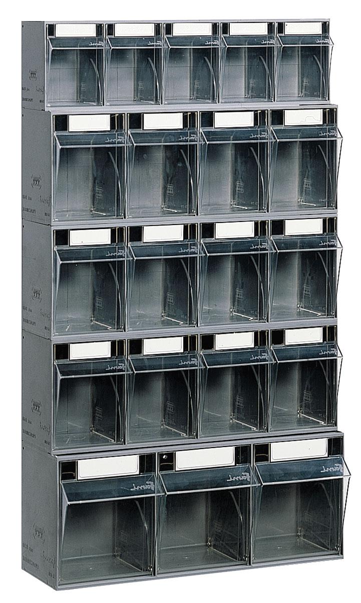 Bloc tiroir avec 20 tiroirs plastique et support mural