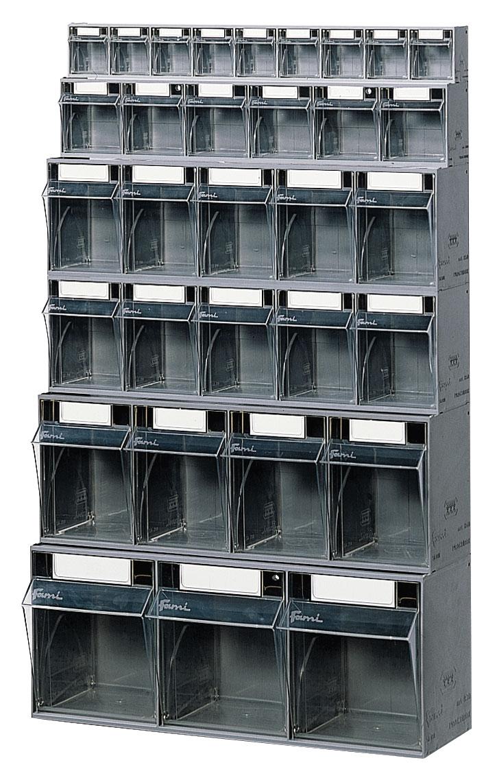 Bloc tiroir avec 32 tiroirs plastique et support mural