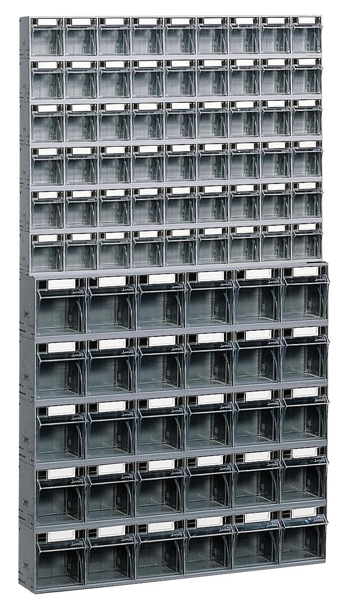 Bloc tiroir avec 84 tiroirs plastique et support mural