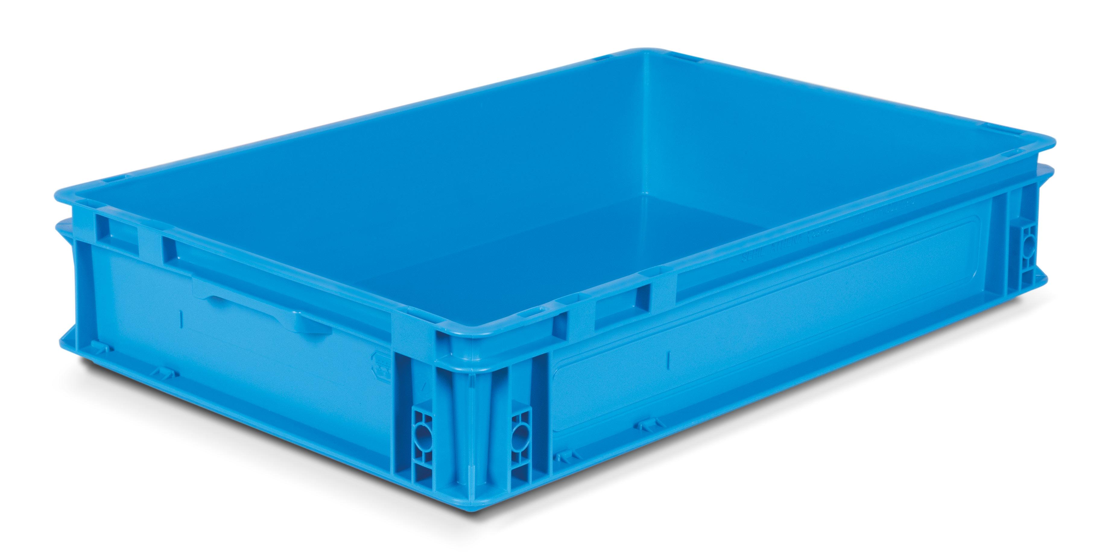 Caisse gerbable plastique coloris Bleu 20 litres