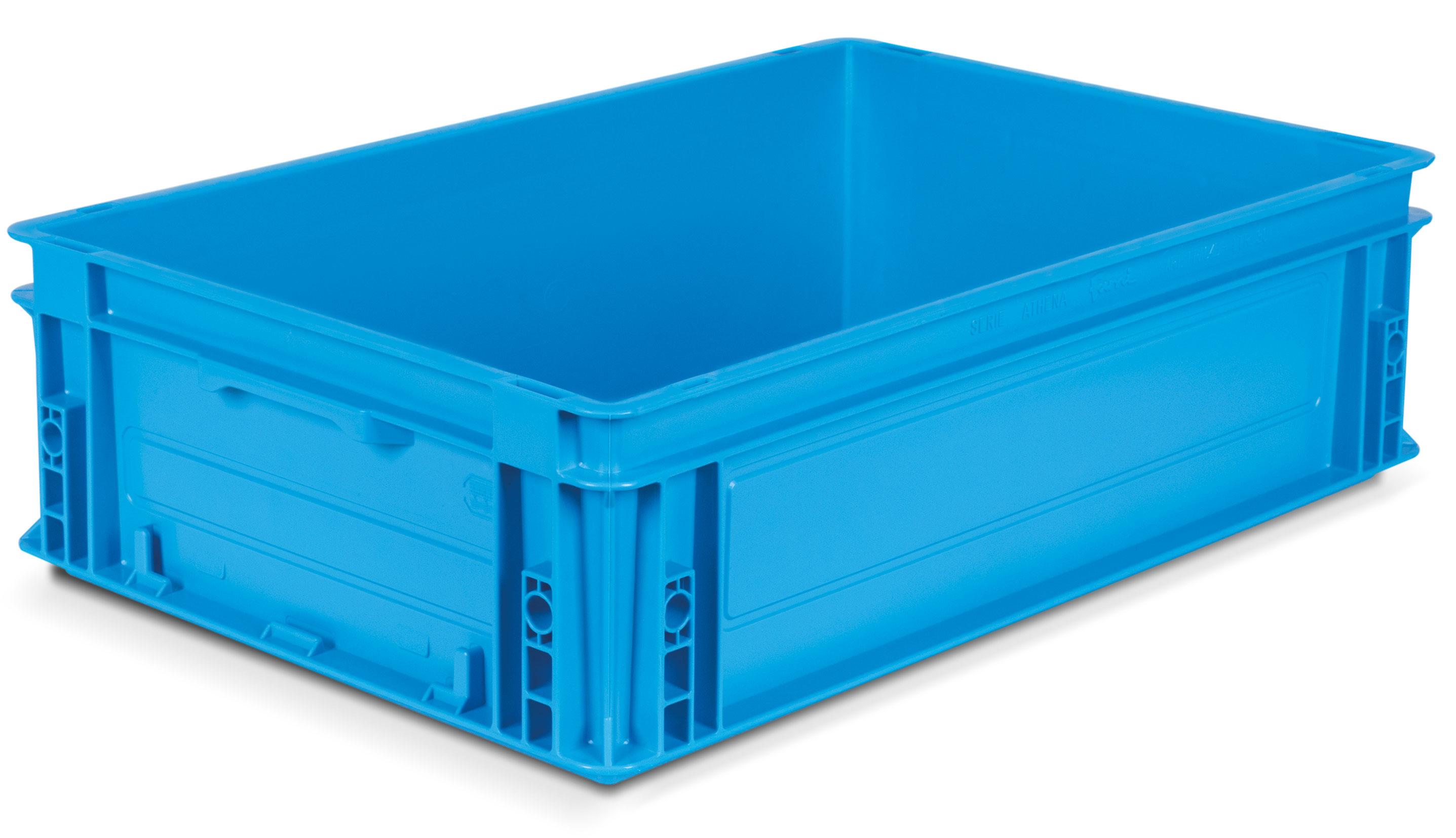 Caisse gerbable plastique coloris Bleu 30 litres