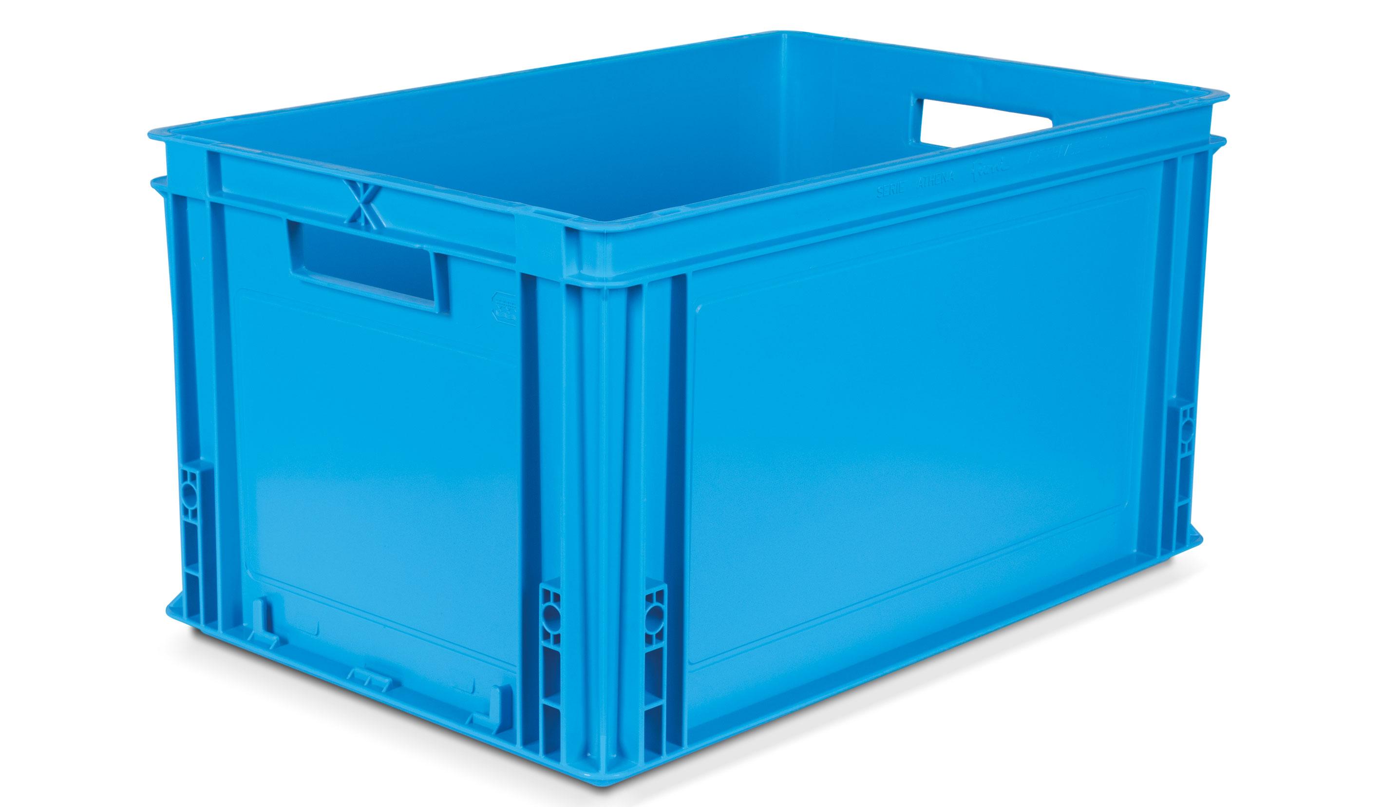 Caisse gerbable plastique coloris Bleu 60 litres