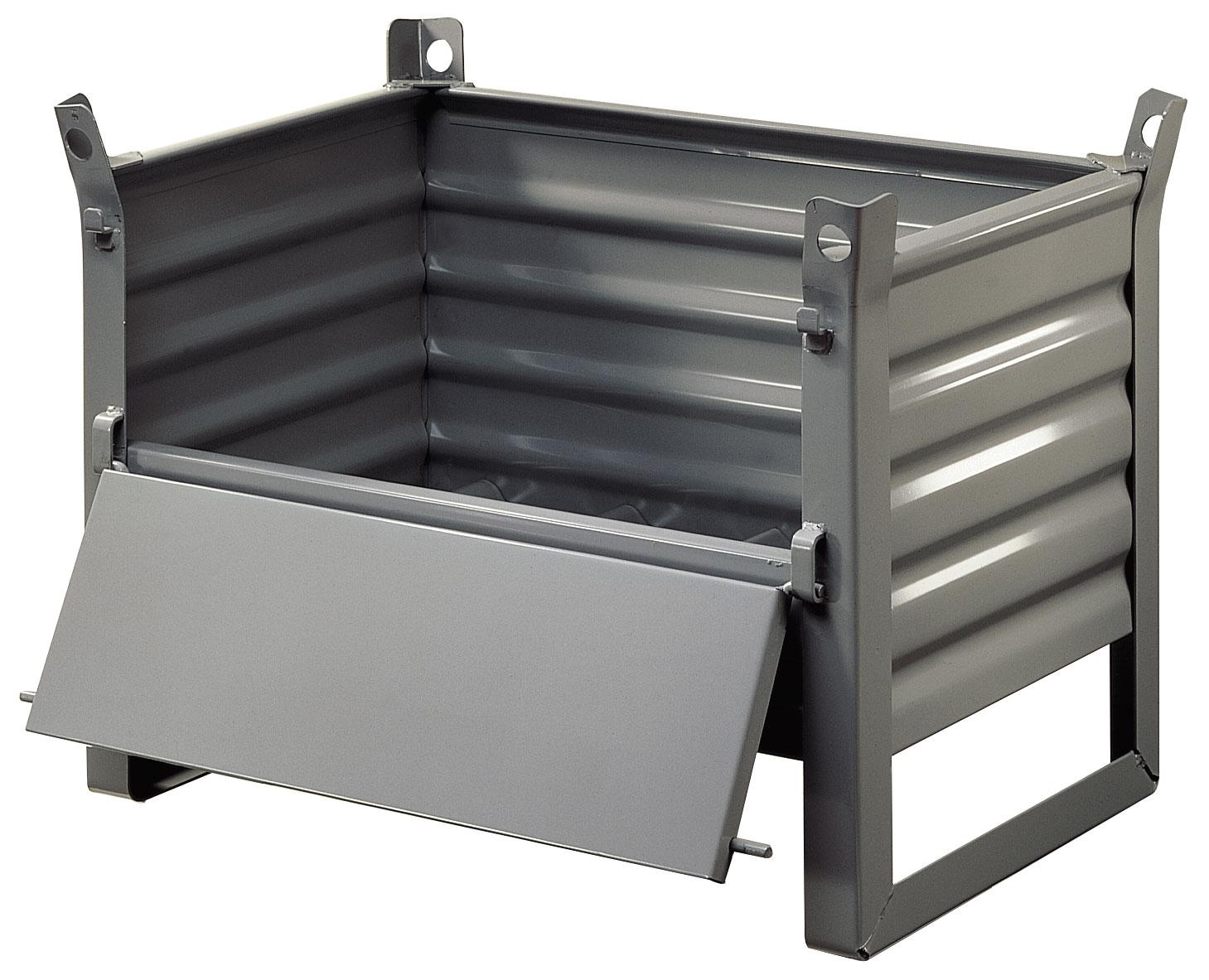 Caisse palette gerbable avec 1/2 porte rabattable charge 600 kg