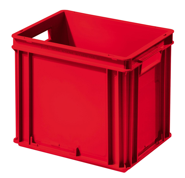 Caisse plastique Athéna rouge 30 litres poignées ouvertes