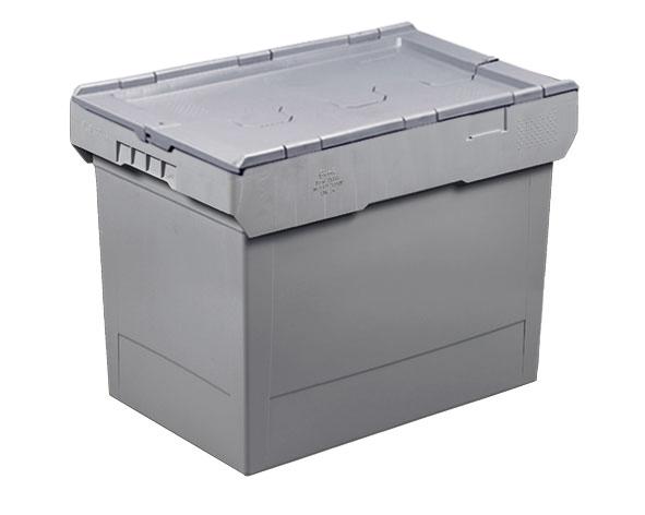 Caisse plastique empilable gris 74 litres couvercle intégré
