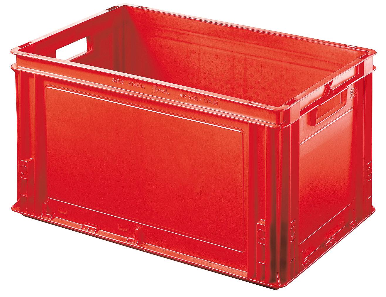 Caisse plastique Europe rouge 60 litres poignées ouvertes