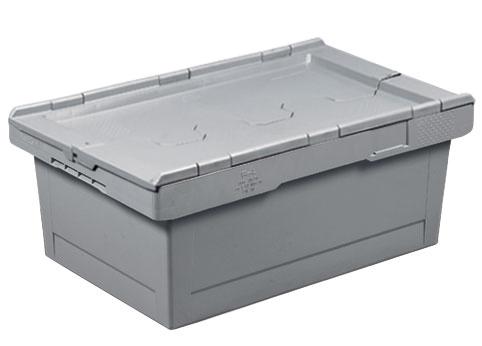 Caisse plastique grise 38 litres 60x40 mm avec couvercle 2 parties