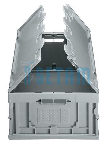 Caisse Pliante, Bac Plastique Avec Couvercle H.230 X L.600 X P.400 Mm