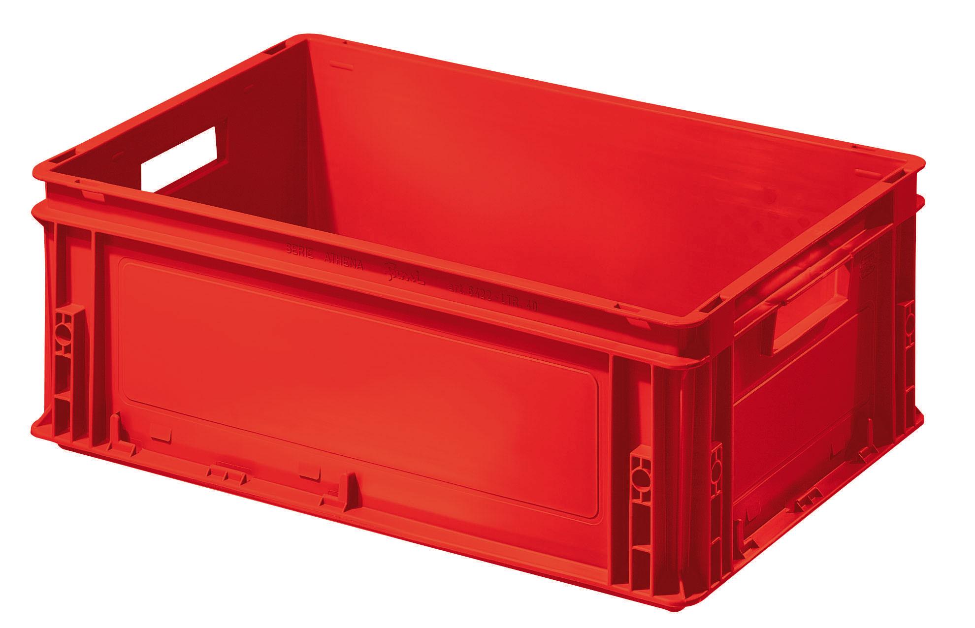 Caisse plastique rouge Europe 40 litres avec poignées