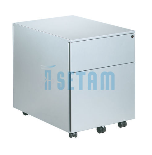 caisson bureau primo m tallique 2 tiroirs coloris aluminium. Black Bedroom Furniture Sets. Home Design Ideas