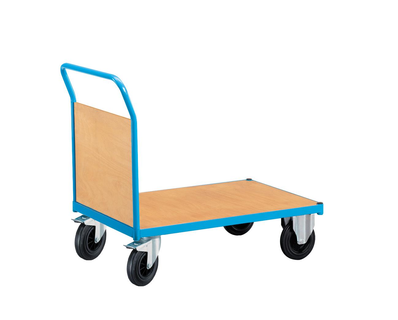 Chariot de manutention avec 1 côté bois