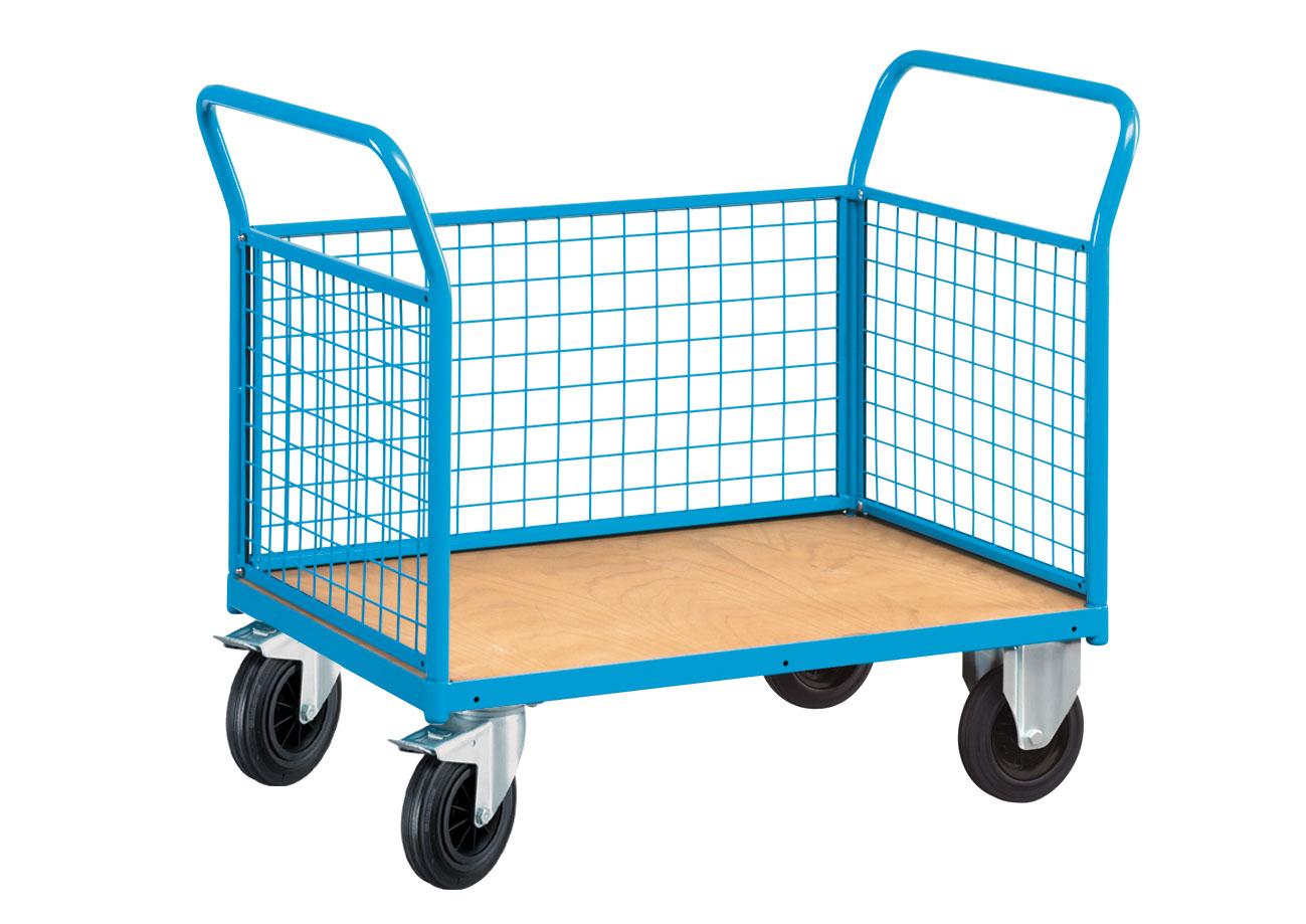 Chariot grillagé 3 côtés pour transport