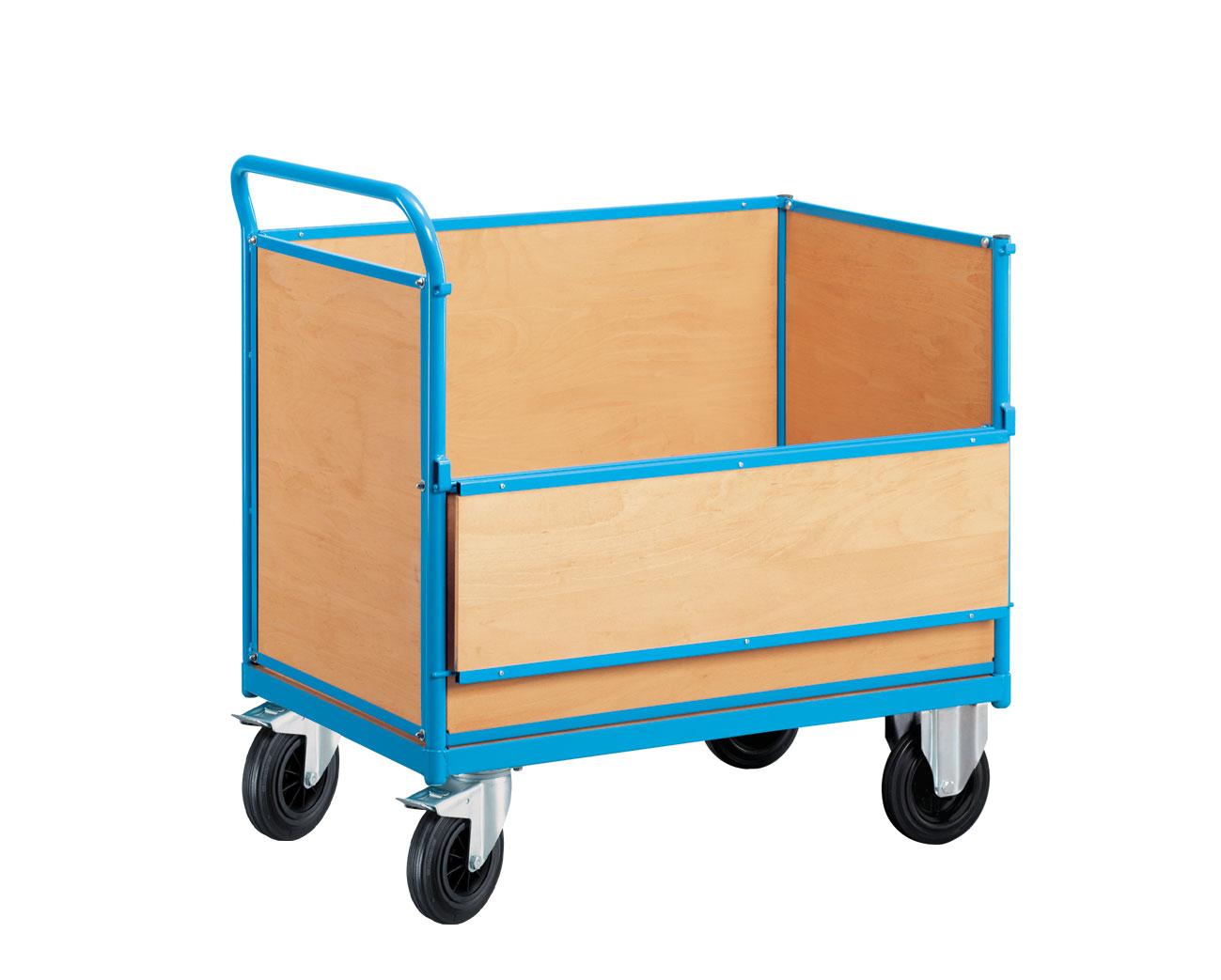 Chariot manutention 4 parois bois et panneau rabattable