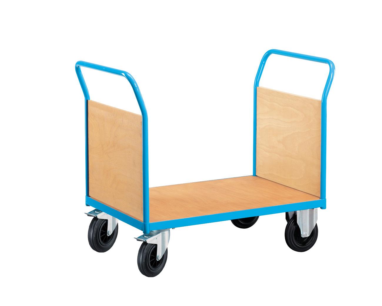 Chariot manutention avec 2 côtés bois