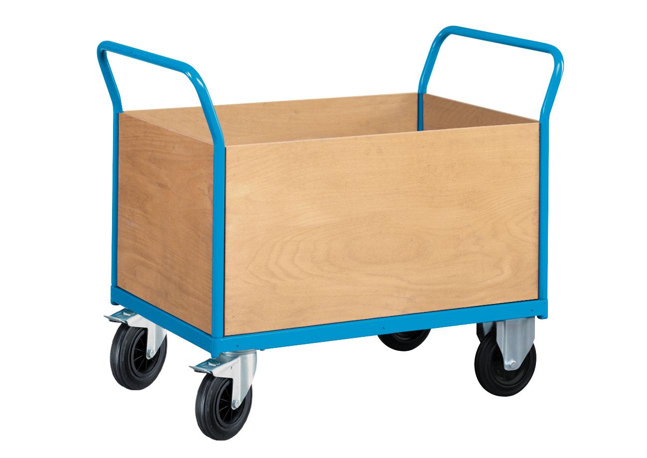 Chariot manutention avec 4 parois en bois
