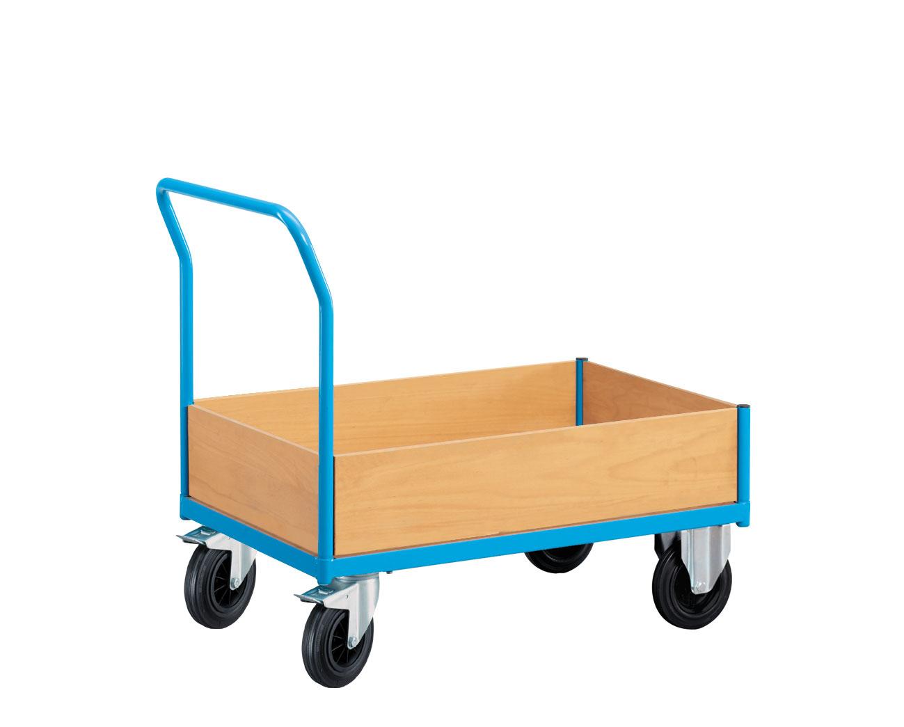 Chariot manutention avec 4 rebords bas en bois