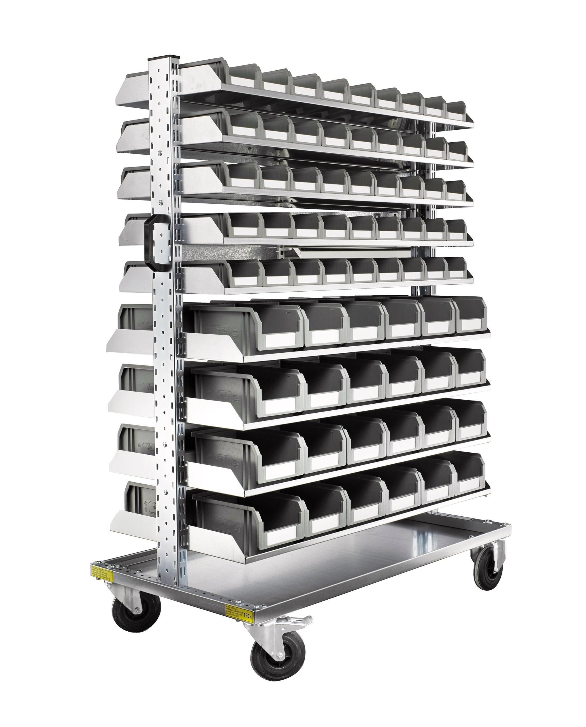 Chariot mobile avec rack 138 bacs à bec plastiques