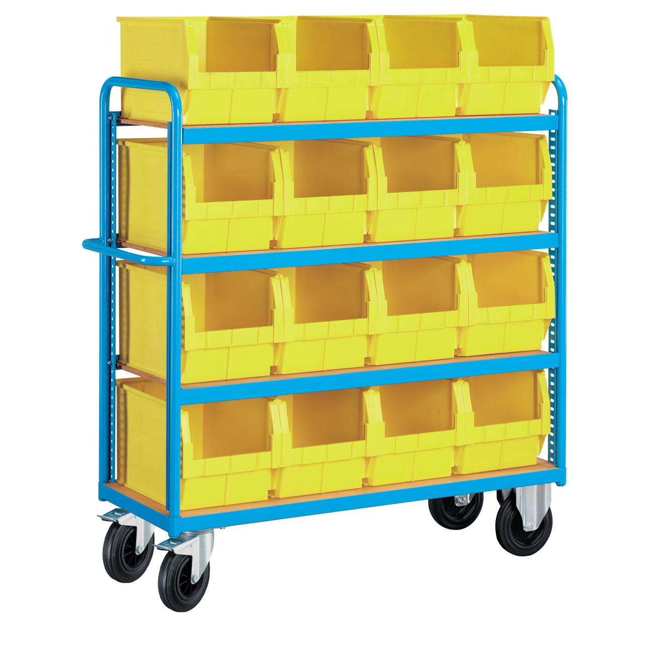 Chariot porte-caisses avec 4 plateaux et 16 bacs