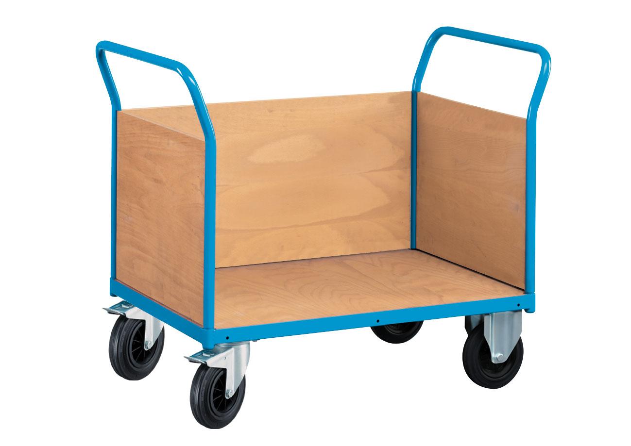Chariot transport 3 parois pleines en bois