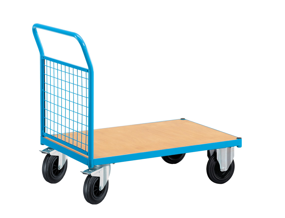 Chariot transport à roulettes 1 côté grillagé
