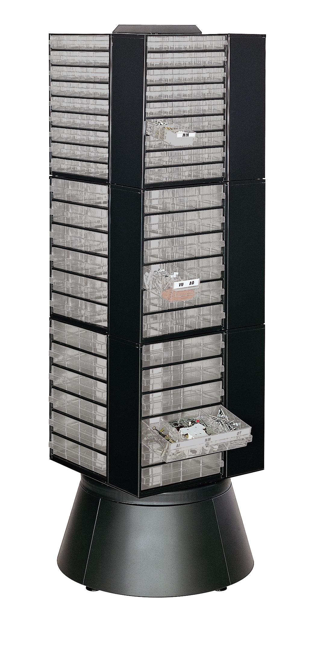 Colonne rotative avec 12 modules stockage tiroirs transparents
