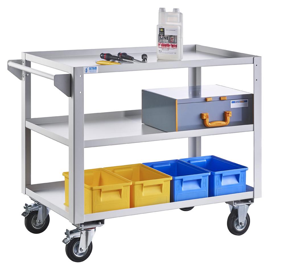 Desserte atelier roulante 3 niveaux charge 350 kg