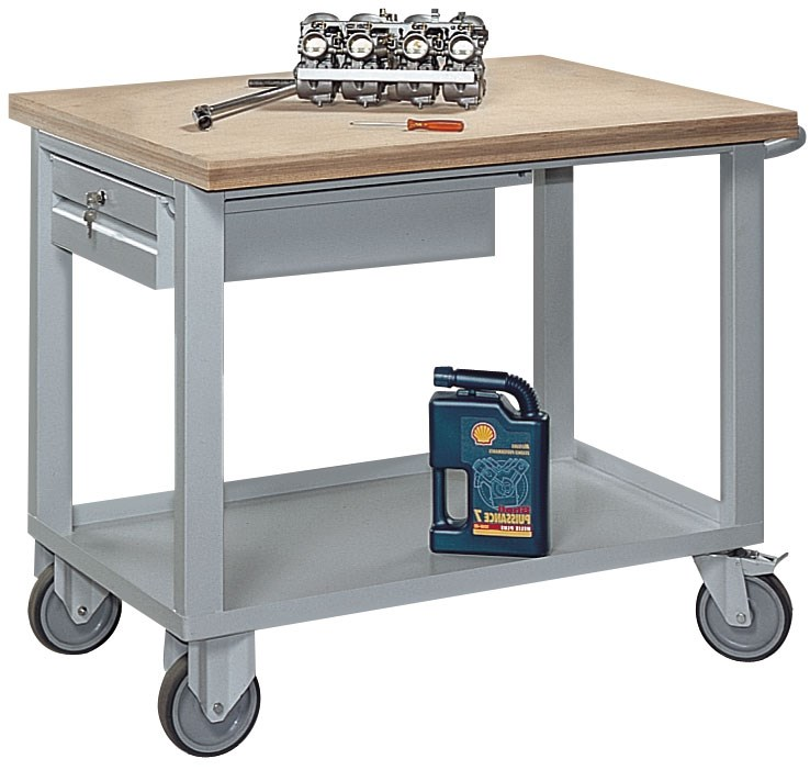 Desserte roulante à plateaux avec tiroir charge 500 kg