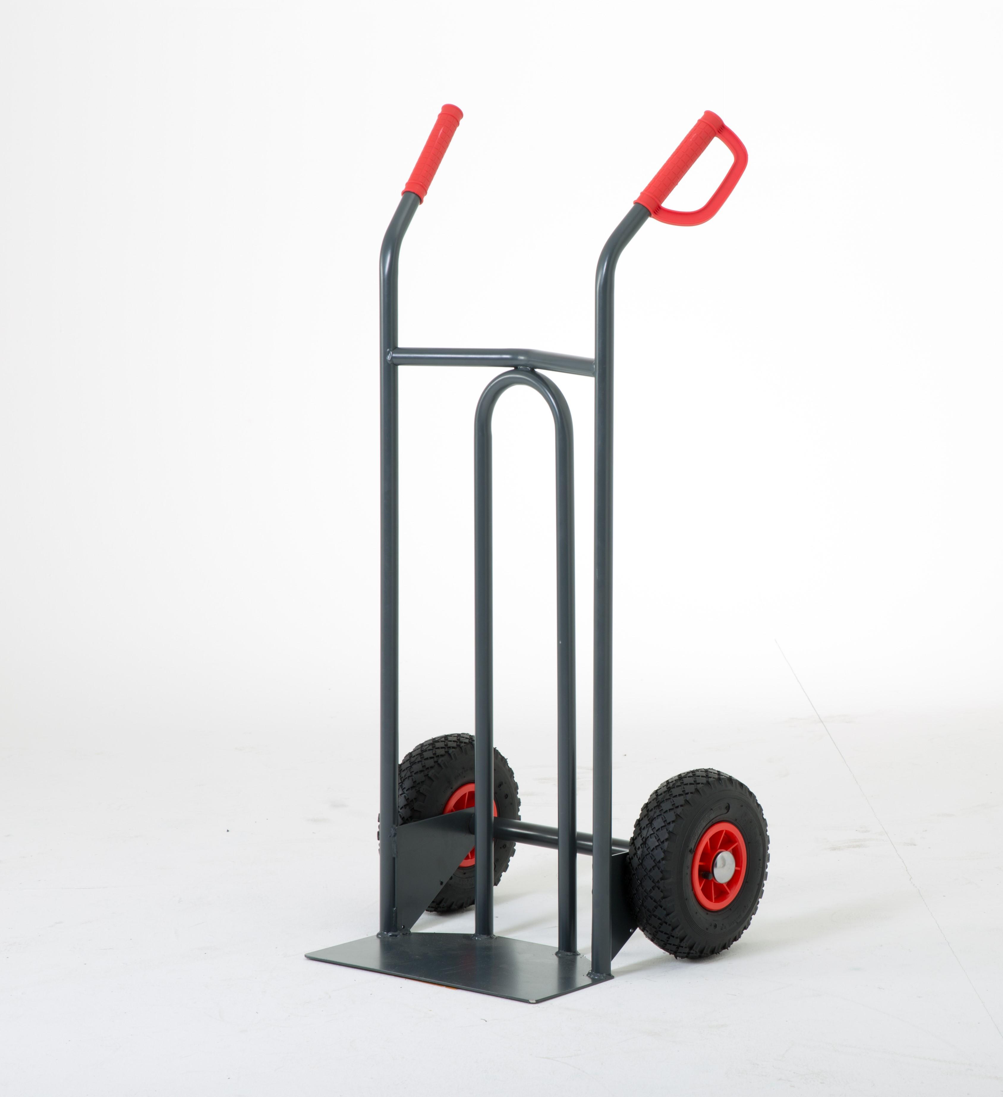 Diable manutention charge 250 kg pelle fixe, roues pneumatiques