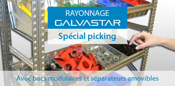 Rayonnage avec bac modulaire