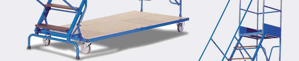 escabeau mobile escalier roulant s curis avec garde corps. Black Bedroom Furniture Sets. Home Design Ideas